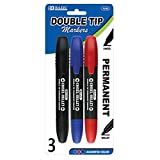 BAZIC Asst. Color Double-Tip Permanent Marker (3/Pack), Case Pack of 144
