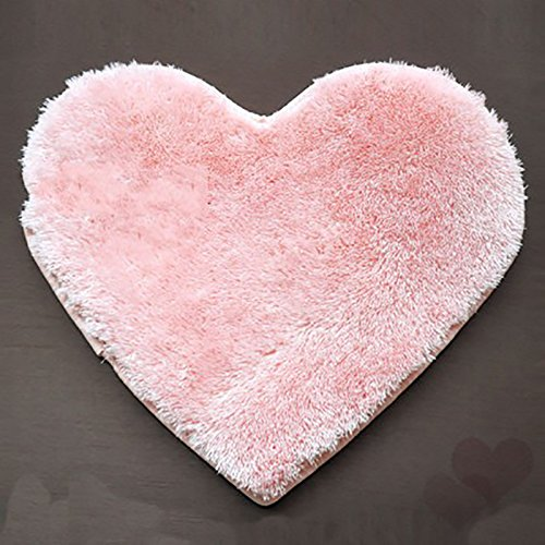 (Zehui 30cmx40cm Super Soft Heart Shaped Rug, Anti-skid Floor Mat, 7 Colors For Choice,Strong Absorbent Water Mat Perfect For Dining room, Living room, Bathroom, Hall, Bedroom Pink)