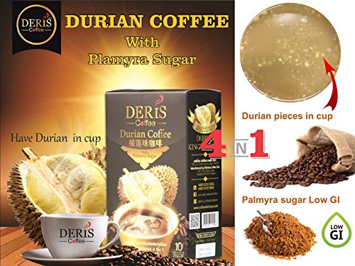 3 Boxes (30 sachets) of Deris instant Durian Coffee with Montong Durian pieces & Palmyra sugar Low GI aroma taste