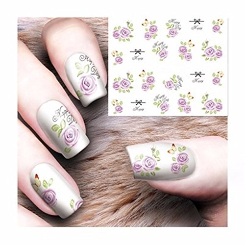 1 Set Gothic Blooming Flower Nail Art Stickers Water Transfer Nails Wrap Paint Tattoos Stamp Plates Templates Tools Tips Kits Pride Popular Xmas Holidays Stick Tool Vinyls Decals Kit, Type-05 -