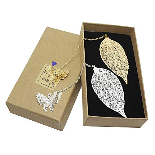 (Feather Metal Pendant Bookmark Leaf Shape Designed and Butterfly Pendant Exquisite Bookmark (Silver + Gold))