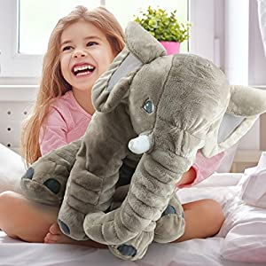 Giant Stuffed Elephant Toy Pillow - Cute Soft Plush Cuddly Fabric -Great Gift Idea for Kids & Adults from briteNway