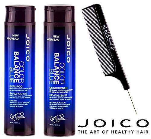 Joico Color Balance BLUE Shampoo & Conditioner DUO Set (with Sleek Steel Pin Tail Comb) (10.1 oz / 300 ml - Retail DUO Kit)