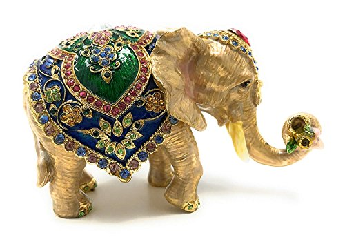 Kubla Crafts Bejeweled and Enameled Elephant Trinket Box, Accented with Austrian (Enameled Bejeweled)