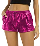 Tandisk Women's Yoga Hot Shorts Shiny Metallic Pants with Elastic Drawstring Rose Red L