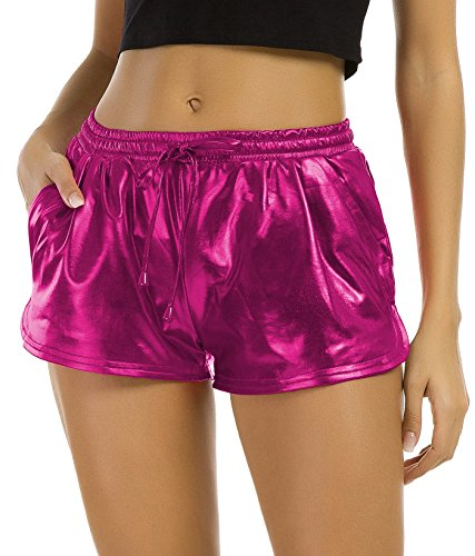 Tandisk Women's Yoga Hot Shorts Shiny Metallic Pants with Elastic Drawstring Rose Red S