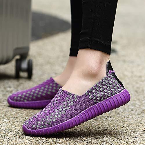 E Traspirante Purple Pigro Coppie Casual 40 Darkblue W Scarpe Donna Sport Fondo Da Viaggi A amp;TT Corsa Mano Antiscivolo Morbido Uomo Fatte Escursionismo Tessute Scarpe Scarpe vqUwP