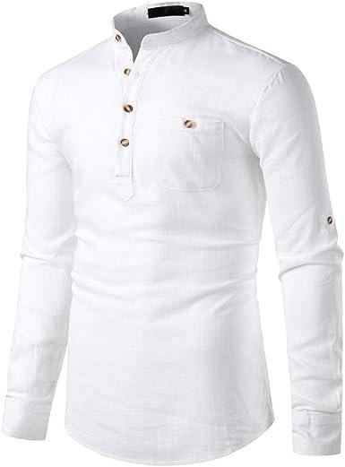 CAOQAO Camisas Hombre Manga Larga Hawaiana Camisa Camisa del Color Puro de los Hombres de la Manera Camisa de algodón Delgada Ocasional de la Camisa de Vestir Blusa Tops: Amazon.es: Ropa y
