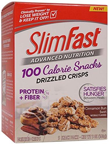 Slim Fast Advanced Nutrition 100 Calorie Snacks, Drizzled Crisps, Cinnamon Bun Swirl, 1oz 5 Bags, 2 Count