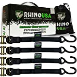 RHINO USA Ratchet Tie Down Straps (4PK) - 1,823lb Guaranteed Max Break Strength, Includes (4) Premium 1' x 15' Rachet Tie Downs with Padded Handles. Best for Moving, Securing Cargo (BLACK)