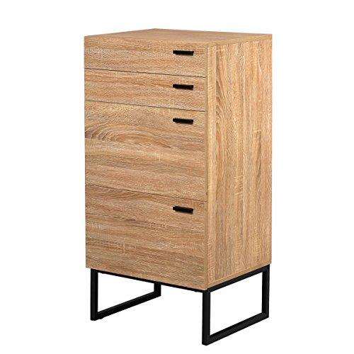 Small Modern Cabinet (DEVAISE 4-Drawer Dresser, Modern Wood Storage Cabinet with Steel Leg, 20.9