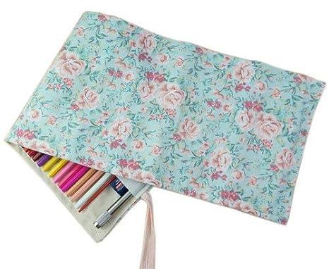 Zedtom - Estuche portalápices enrollable de tela, con huecos para 72 lápices, pequeño, estampado de la tela con motivos florales (nota: no incluye las ...