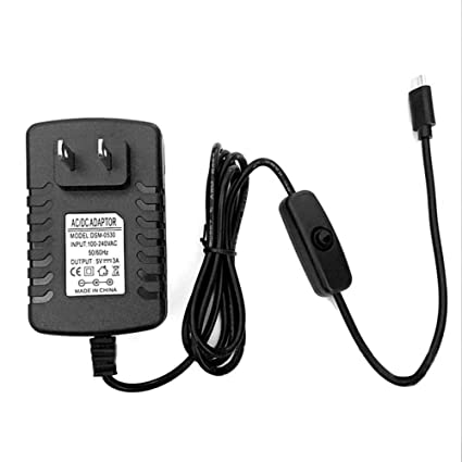 Amazon com: 5V 3A Micro USB Power Supply Charger Adapter On/Off
