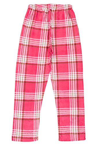 - North 15 - Girls Super Cozy Plaid Minky Fleece Pajama Bottom Lounge Pants-L1527G-Design2-8 Pink-White