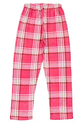 (North 15 - Girls Super Cozy Plaid Minky Fleece Pajama Bottom Lounge Pants-L1527G-Design2-8 Pink-White)