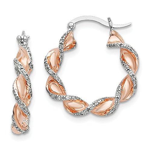 (Sterling Silver & Rose Vermeil CZ Cubic Zirconia Twisted Hoop Earrings)