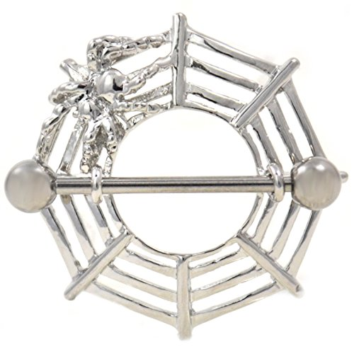 Pair of Spider Web Shield Steel Nipple Piercing Rings Barbells - 14 Gauge ()
