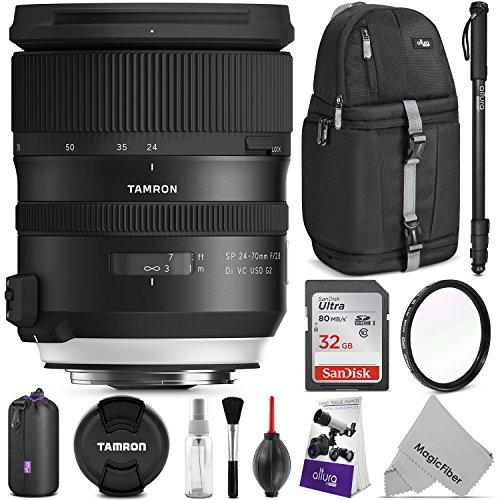 Tamron SP 24-70mm f/2.8 Di VC USD G2 Lens for NIKON F w/Advanced Photo and Travel Bundle