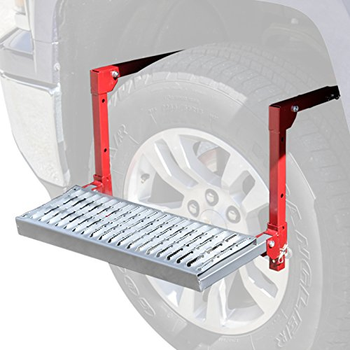 Adjustable Tire Service Step for Full Size Truck Car SUV - 300lb Platform - Fits Over the Wheel and Folds For Easy Storage