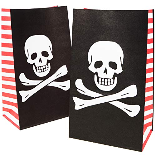 Pirate Themed Snacks (Juvale 36-Pack Pirate Party Favor Goody Bags for Treats and)