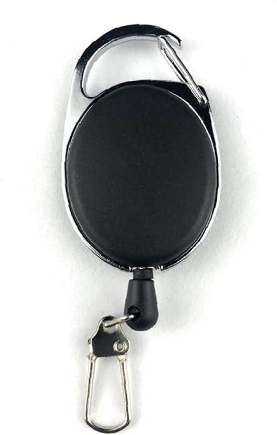 AMOYER 2pcs Multifuncional retr/áctil de extracci/ón de Anillo Llavero Carrete Divisa de la identificaci/ón Tarjeta de la Cuerda de Seguridad Porta-bobinas Key Ring Clip de la Correa Extensible