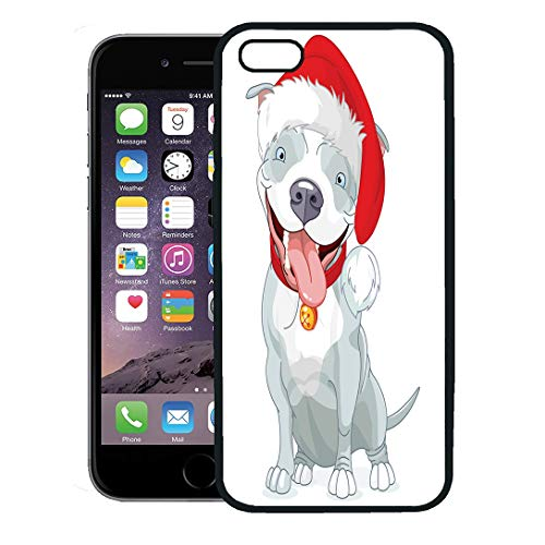 Emvency Phone Case for iPhone 8 Plus case Cover,Blue Santa of Christmas Pit Bull Dog Pet Puppy Animal Excited Claus,Rubber Border Protective Case,Black -