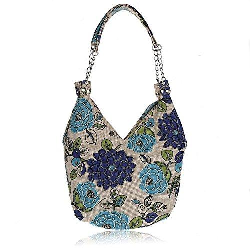 Pulama Handmade Blooming Flowers Shoulder Bag,Vintage Handbag in Leisure Village Life (Blue)