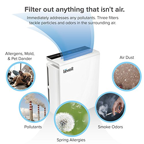Levoit LV-PUR131 Air Purifier with True HEPA Filter, Odor Allergies Eliminator, Air Cleaner for Large Room, Dust, Smoke, Mold, Pets, Smokers, Home, Auto Air Quality Monitor, 322 sq. ft, US-120V by LEVOIT (Image #1)