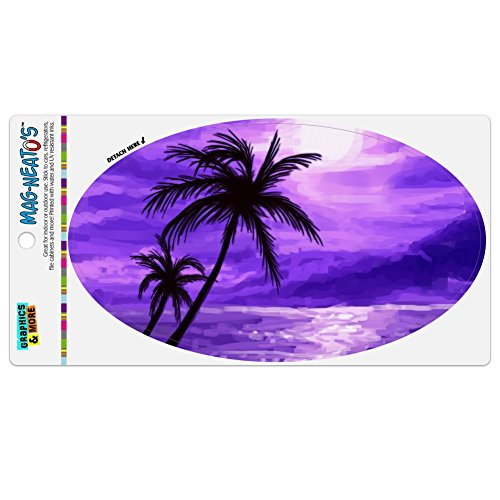 Graphics and More Purple Sunset Beach Palm Tree Hawaii Paradise Automotive Car Refrigerator Locker Vinyl Euro Oval Magnet