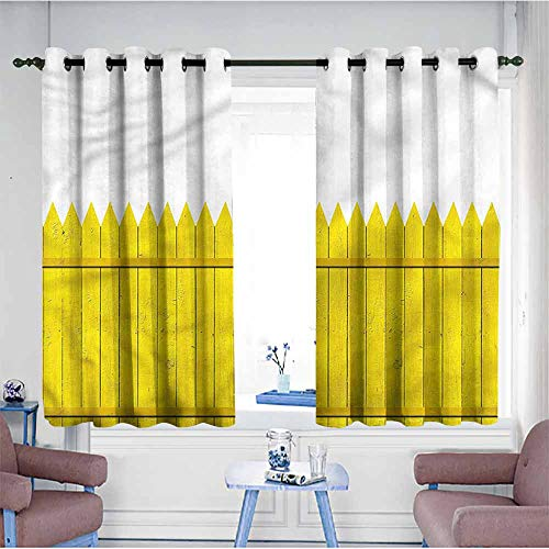 VIVIDX Window Blackout Curtains,Yellow,Wooden Picket Fence,Space Decorations,W63x63L