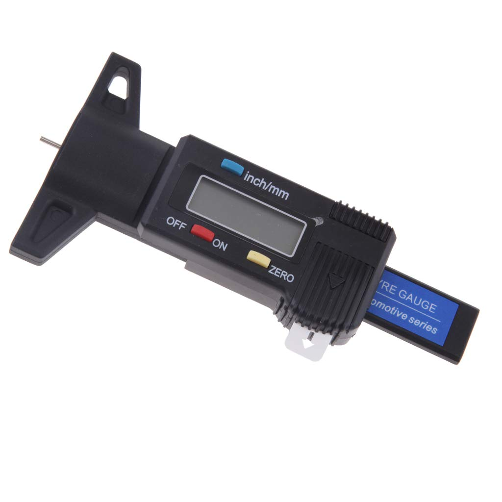 Homyl Digital LCD Tyre Tire Tread Deep Depth Gauge Caliper 0-25.4mm (0~1) Metric/Inch - Metal/Blue