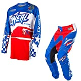 O'Neal Element Afterburner Blue & Red Jersey/ Pant Combo - Size LARGE/ 34W