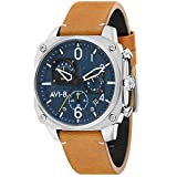 AVI-8 Men's 'Hawker Hunter' Quartz Stainless Steel and Leather Casual Watch, Color:Brown (Model: AV-4052-07)