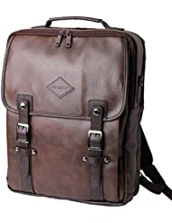 Brown 15 Laptop Backpack Messenger Tote Bags Synthetic Leather