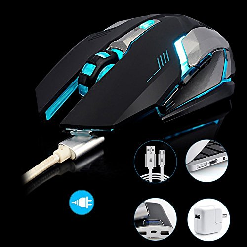 LexonElec Wireless Ergonomic Mouse X7 2.4GHz Rechargeable Silent Optical Pro Gamer Gaming Mice with USB Receiver, 7 Colors LED Backlit, 3 Adjustable DPI (800/1200/1600), 6 Buttons for PC (Black) by LexonElec® (Image #6)