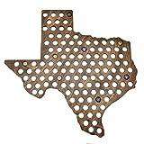 Giant Texas Beer Cap Map - Holds Craft Beer Bottle Caps (Dark Stain)