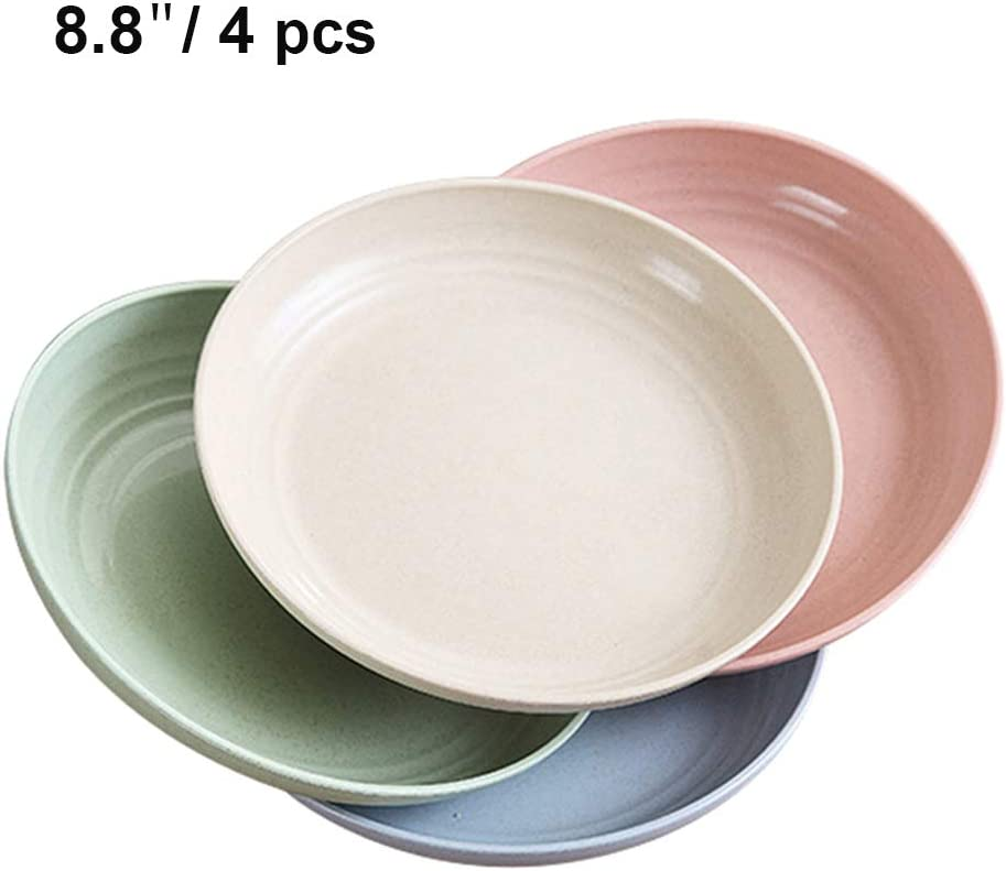 8.8 Inch Extra Large Wheat Straw Plates, 4 PCS Lightweight Unbreakable Dinner Plates with Dishwasher Microwave Safe, Eco-Friendly Degradable Dishes for Kids, Children, Toddler, Adult