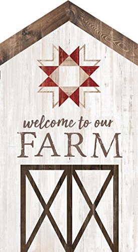 me to Our Farm Whitewash Barn House Shaped 3.5 x 6 Inch Pine Wood Block Tabletop Sign ()