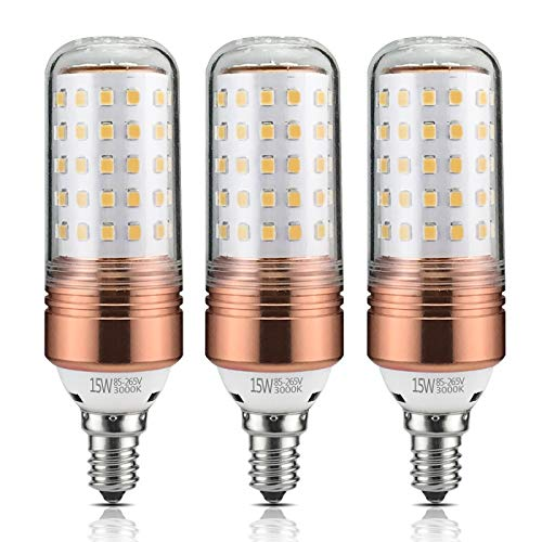 Yiizon 15W LED Candle Bulbs 3000K Warm White 1200LM E12 Base 120W Incandescent Equivalent Non dimmable Candelabra LED Light Bulbs (Pack of 3)