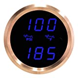 VEI Systems Dual-Display gauge: 100 PSI oil pressure and 320 deg-F oil temperature (blue/silver)