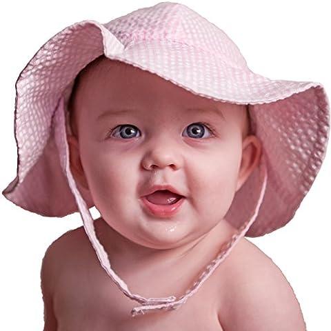 Huggalugs Pink Girls Seersucker Sunhat 2-4y - Striped Seersucker Cap