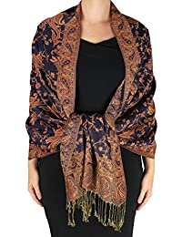 Peach Couture Reversible Exclusive Paisley Pashmina Shawl Wrap Burnt Orange Navy