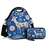 Insulated Neoprene Lunch Bag-Removable Shoulder Strap-X Large Size Reusable Thermal Thick Lunch Tote/Lunch Box/Cooler Bag with Wallet Pouch for Adults,Kids,Women,Men Teens,Girls,Baby (Nice Deer)