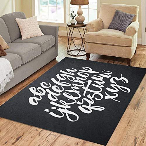 (Pinbeam Area Rug Alphabet Brush Script White Letters on Chalkboard Hand Home Decor Floor Rug 5' x 7' Carpet)