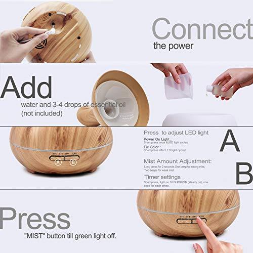 ASAKUKI Essential Oil 5-in-1 Humidifier, Home Fragrance Diffuser 7 Color Easy