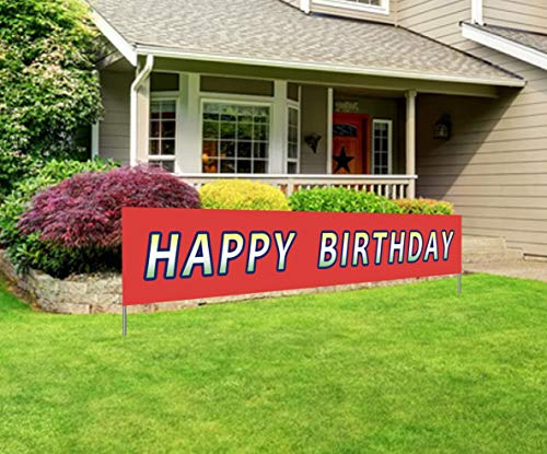 Large Happy Birthday Banner | Giant Bday Party Sign | Huge Birthday Outdoor Decoration ()