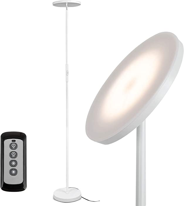 JOOFO Floor Lamp,30W/2400LM Sky LED Modern Torchiere 3 Color Temperatures Super Bright Floor Lamps-Tall Standing Pole Light with Remote & Touch Control for Living Room,Bed Room,Office (Pearl White)