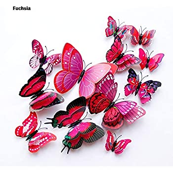 Batop 12Pcs Double Layer 3D Butterfly Wall Sticker - On The Wall - Home Decor Butterflies for Decoration - Magnet Fridge Stickers (Fuchsia)