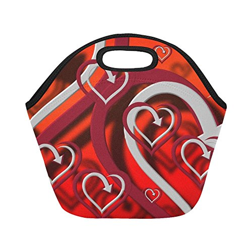 Insulated Neoprene Lunch Bag Heart Pattern Shadow Many Large Size Reusable Thermal Thick Lunch Tote Bags For Women,teens,girls,kids,baby,adults-lunch Boxes For Outdoors,work, Office, School -