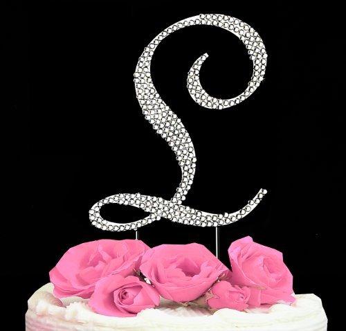 (Letter L - Swarovski Crystal Monogram Wedding Cake Topper Letter)